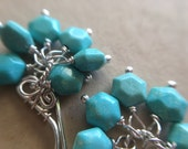 Arizona Turquoise Hexagon Cluster Earrings in Sterling Silver