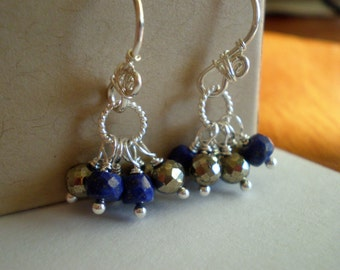 Midnight Blue Lapis Lazuli Pyrite Cluster Earrings in Sterling Silver