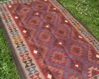 "7 ft  10""  x 4 ft 11"".  Handspun wool. Maimana hand woven Rug/Kilim. 239 x 150 cm  Tapis"
