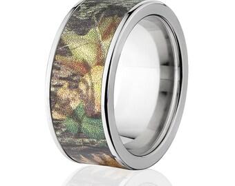 New 10mm Titanium Licensed Mossy Oak New Breakup Camo Ring Camo Wedding Band Mossy Oak New Breakup Titanium Wedding Ring : 10F-NBU