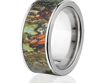 New 10mm Titanium Licensed Mossy Oak Obsession Camo Ring Camo Wedding Band Mossy Oak Obsession Titanium Wedding Ring : 10F-OBSESSION