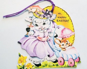 Retro Easter Lamb - Easter Tags - Set of 3 - Well Dressed Lamb - Bunny In Stroller - Easter Parade - 1950's Lamb Tags - Purple Pink Yellow