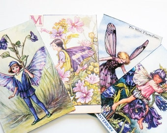 Purple Fairy Tags - Set of 4 - Vintage Fairy - Forest Fairy - Garden Fairy - Violet - Wild Thyme - Mallow - Canterbury Bell - Fairy Fantasy