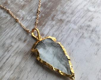 Popular Arrowhead Necklace, Glass Arrowhead Necklace, Boho Necklace, Layering Necklace, Light Blue Glass Arrowhead Necklace, Gift