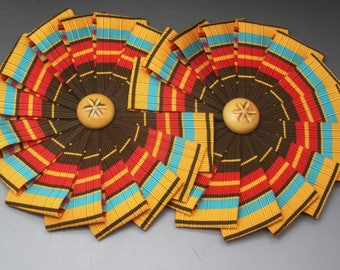 Double Wheel Cocarde in Aqua Yellow Brown and Red