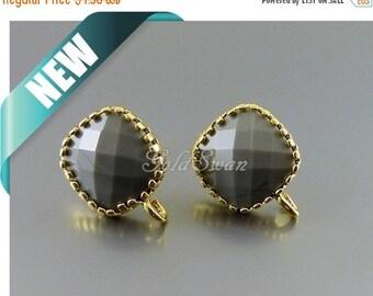 15% SALE 2 pcs / 1 pair opaque gray simple square stud earrings, glass stone earrings 5155G-OGR opaque gray