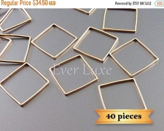 15% SALE 40 pieces MATTE rose gold plated brass metal 15mm square charms for jewelry 1447-MRG-15-bulk (40 pieces)