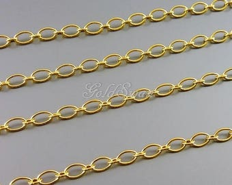 1 meter plain oval link chain, 16k gold plated metal chains, simple 0 link 5mm x 3mm link chain B163-BG