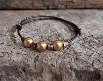 Mix Oxidized Tube Brass Beads Adjustable Leather Bracelet