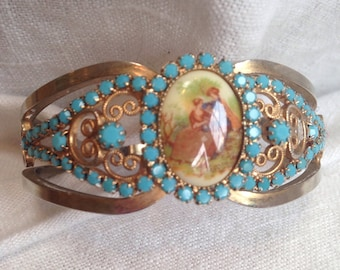 Rare Juliana Limoge Clamper Bracelet Courting Couple Faux Turquoise Accents