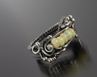 Fine Silver Ring - Ethiopian Opal Ring - Size 6.5 Silver Ring - Lily
