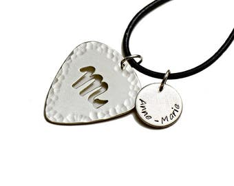 Personalized Zodiac Sterling Silver Guitar Pick with Disc Charm Necklace - GPNL30