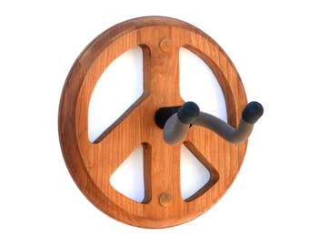 Guitar Wall Hanger Peace Sign Handcrafted in Cherry Wood