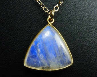 Rainbow Moonstone Triangle Necklace, Rainbow Moonstone Triangle Pendant, Cobalt Blue Fire and Flash, Gold Bezel and Chain