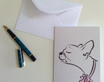 Pretty French Bulldog notecard, Frenchie dog greeting card, Frenchie card, Frenchie stationery