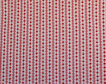 Red Hearts- Striped Vintage Cotton Fabric - Red And White Fabric By The Yard