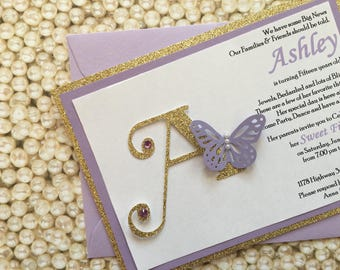 Glitter Butterfly Sweet Sixteen 16 15 Quinceanera Bat Mitzvah Wedding Invitation - Monogram Invitation Gold Glitter Lilac Lavender Purple