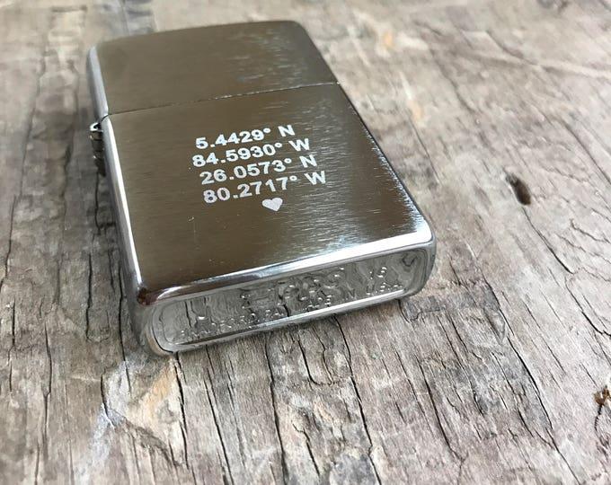 Zippo Lighter Personalized Gift Longitude Latitude Custom GPS Coordinates Personalized Hidden Inscription Hipster Lighter