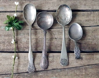 Aged Silver Spoons Silverplate Flatware