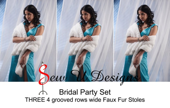 Bridal Party Set of THREE faux fur stoles 4 grooved rows wide stoles shawls
