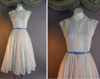 1950s dress vintage 50s COTTON CANDY PINK white blue sheer organdy fit and flare full skirt day dress