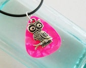 Reserved for Cheryl Guitar Pick Necklace Owl and matching earrings in hot pink pearloid