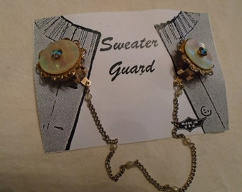 Sweater Clip Gold Tone Filigree Mother Of Pearl Amber Colored Rhinestones Earring type Clips FREE SHIPPING