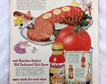 Vintage 1947 Snider's Chili Sauce Advertisement. Condiment Ad, Retro Ephemera. Vintage Food Advertisement Wall Decor. Back- Firestone Velon