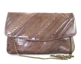 Vintage Varon Diagonal Stripe Snakeskin Purse/Clutch