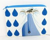 Dolphin Zipper Pouch, Dolfun Charley Harper, Organic Fabric, Ocean Life Coin Purse