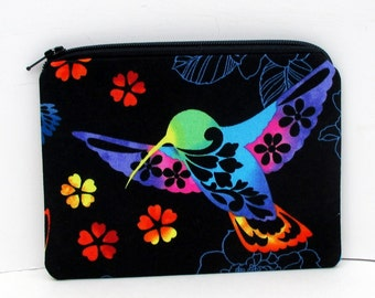 Small Zippered Pouch, Hummingbird Song, Black with Bright Colors, Bird Coin Purse