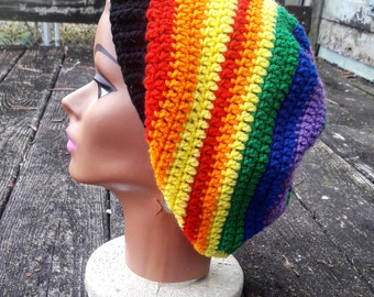 Multi color rainbow slouch beanie hat