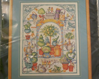 """NEW Watering Can Collection Counted Cross Stitch Kit Bucilla Garden 12"""" x 15"""" 41651"""
