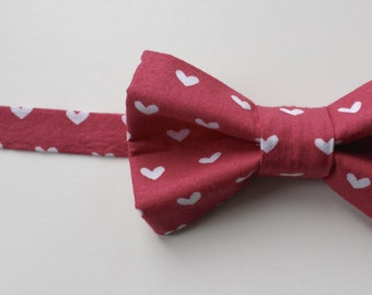 Little Guy BOW TIE - Valentine's Day- Pink Mauve Heart (3T- 6 years) - Baby Boy Toddler - (Ready to Ship)