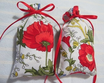 "Memorial Day Red Poppies 4""X2"" Sachet-'Violet and Birch' Fragrance-White Sachet-Cotton Herbal/Botanical Sachet-Cindy's Loft-677"