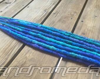 """7DE Crocheted Dreadlock Extensions -- """"Mermaid Tears"""" -- Free Shipping"""