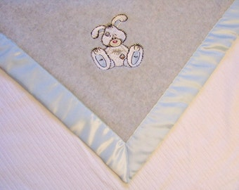 Baby Blanket Gray Fleece White Striped Minky with Bunny Ready to Ship