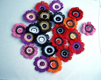 Crochet Flowers Colourful Chouse your color Crochet Poppy Flower 2 Motifs Applique Jewelry making supplies