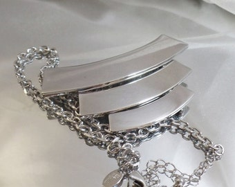 CHRISTMAS SALE Vintage Mod Showstopper Silver Bar Necklace.  Lia Sophia.  Chunky Three Bar Silver Runway Necklace.
