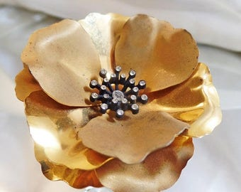 ON SALE Vintage Gold Rhinestone Flower Brooch.  Large Brushed and Shiny Gold Tone Flower Pin with Clear Rhinestones.