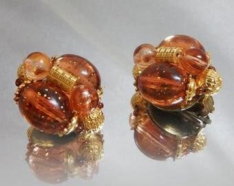 ON SALE Vintage Beaded Earrings. Amber Brown Glitter. West Germany.