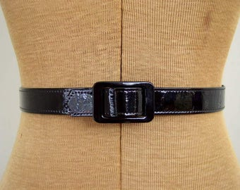 Vintage 1970's Mod Belt / 70's Astor Black Patent Belt with Square Slide Buckle / High Waist Belt