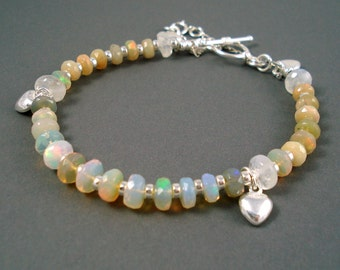 Opal Bracelet, Faceted Extreme Color Opals, Ethiopian Fire Opals and Sterling Silver Bracelet, Fire Opal Jewelry