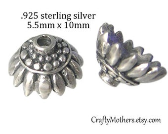 Take 15% off with 15OFF20, 2 Bali Sterling Silver Sunflower Bead Caps, 10mm x 5.5mm (oxidized finish), artisan-made jewelry supply