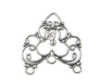 Take 15% off with 15OFF20, New Item, 1 Pair Bali Sterling Silver Chandelier Findings (2 pieces), 24mm x 22mm, Earring Component