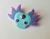 Axolotl brooch - Aqua