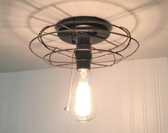 VINTAGE Cage Ceiling Light with Filament Edison Bulb & Pull Chain Switch - Upcycle Recycle Repurpose Fixture Kitchen Industrial Farmhouse