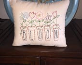 Primitive Spring Summer  Garden Bloom Flowers Embroidery Stitchery Pillow