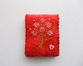 Needle Book Red Felt Needle Keeper with Hand Embroidered Flowers Heart Button and Crochet Trim Handsewn