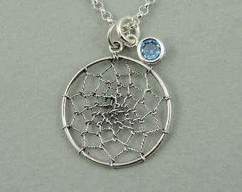 Dream Catcher Necklace - Sterling Silver Dream Catcher Pendant Jewelry, Birthstone Necklace, Trendy Necklaces, Birthday Gift